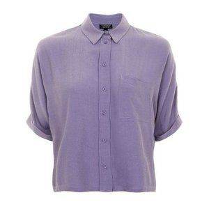Topshop Short Sleeve Roll Up Button Top Purple